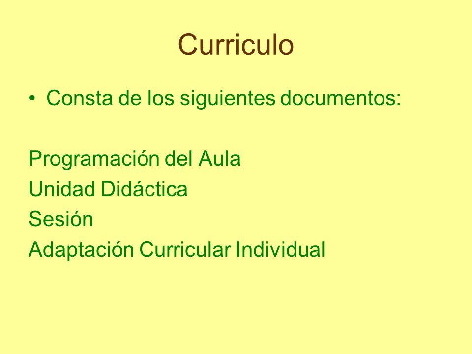 Curriculo Consta de los siguientes documentos: Programación del Aula