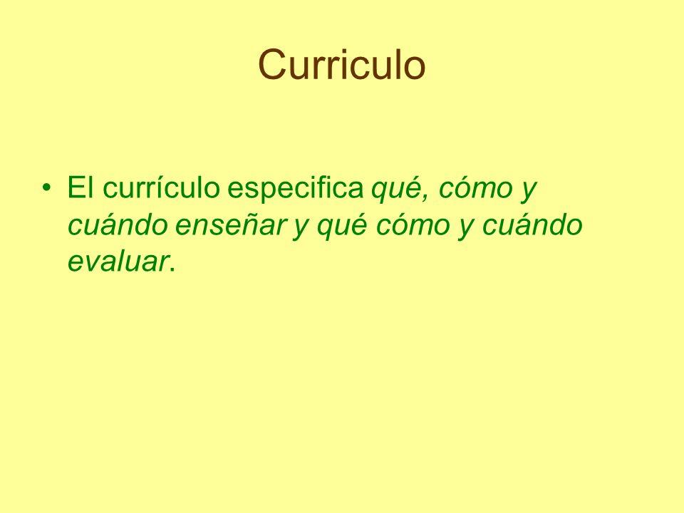 Curriculo El currículo especifica qué, cómo y cuándo enseñar y qué cómo y cuándo evaluar.