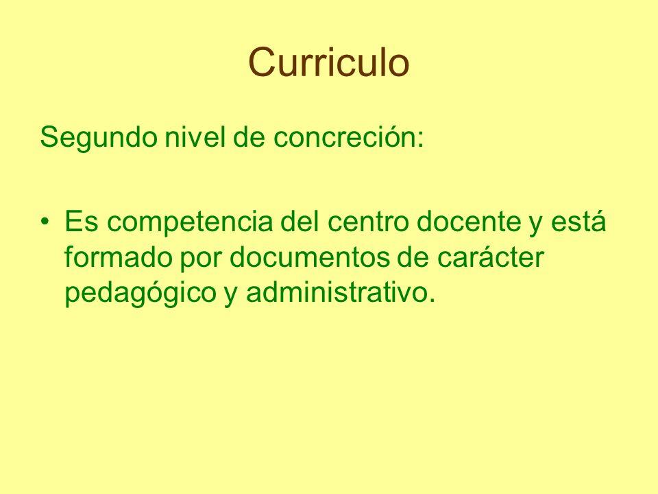 Curriculo Segundo nivel de concreción: