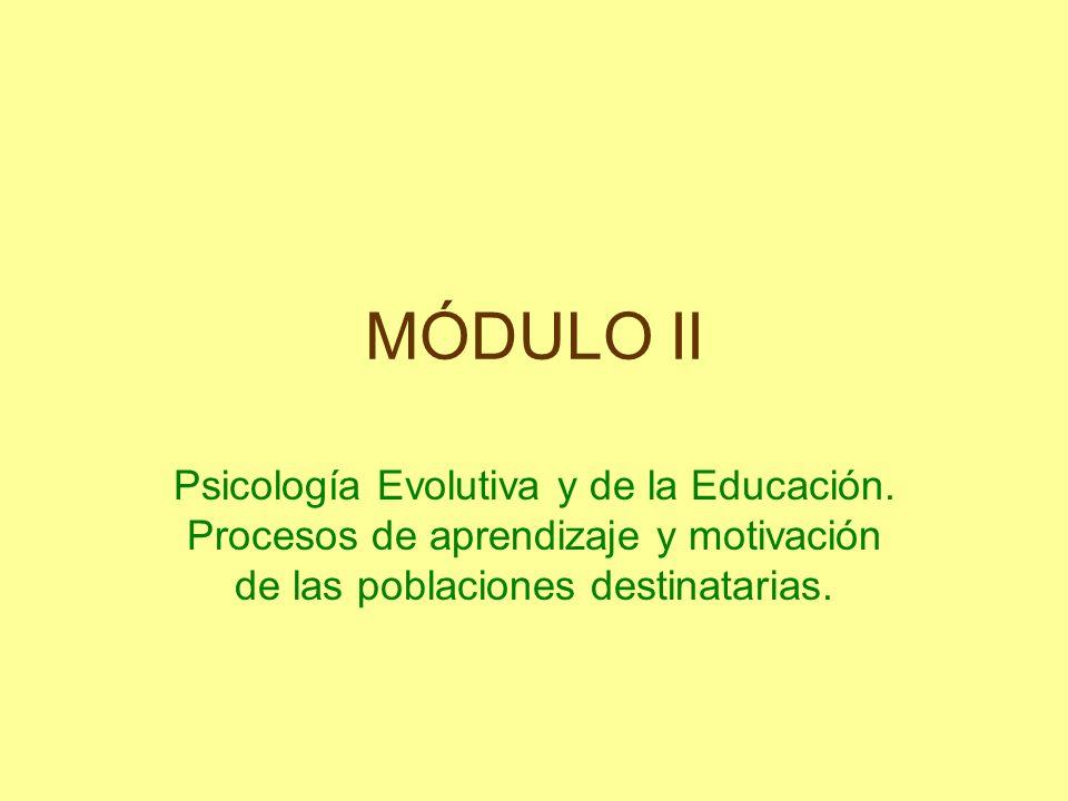 MÓDULO II Psicología Evolutiva y de la Educación.