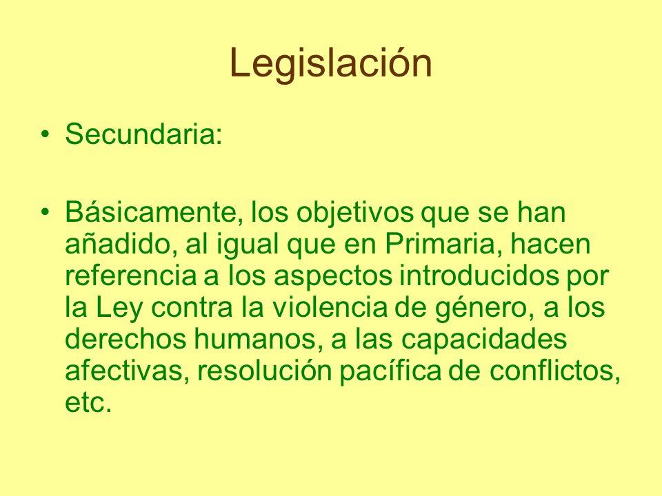 Legislación Secundaria:
