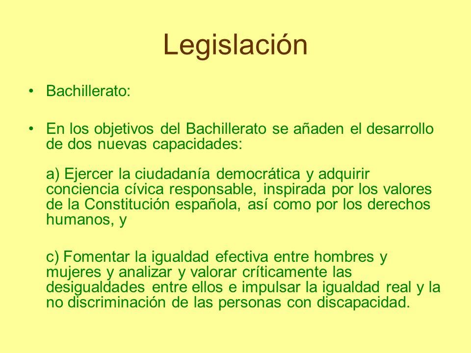 Legislación Bachillerato: