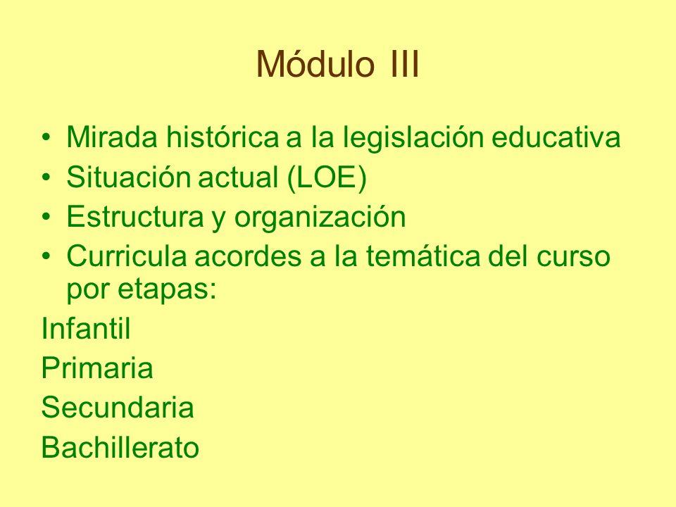 Módulo III Mirada histórica a la legislación educativa