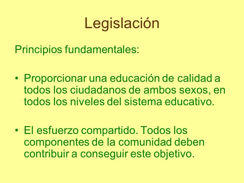 Legislación Principios fundamentales: