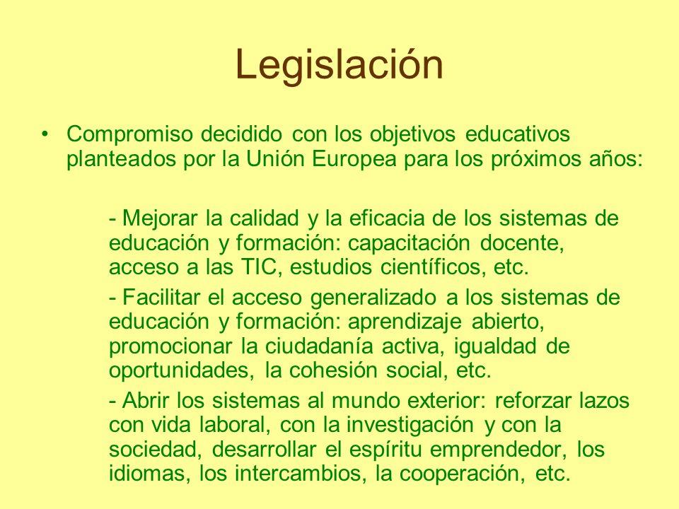 Legislación Compromiso decidido con los objetivos educativos planteados por la Unión Europea para los próximos años:
