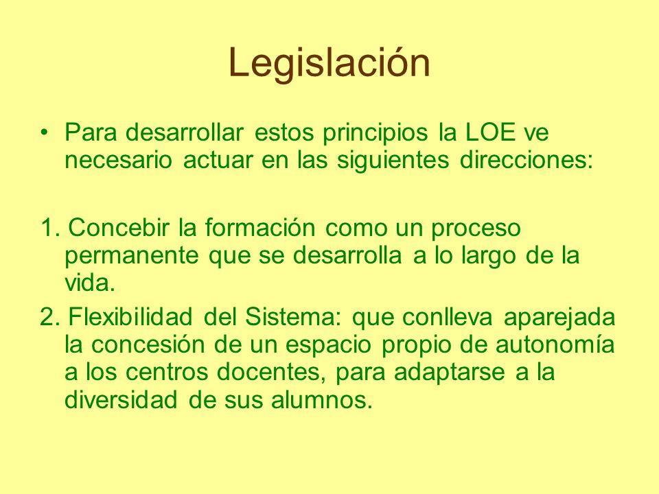 Legislación Para desarrollar estos principios la LOE ve necesario actuar en las siguientes direcciones: