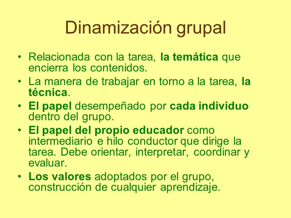 Dinamización grupal Relacionada con la tarea, la temática que encierra los contenidos. La manera de trabajar en torno a la tarea, la técnica.