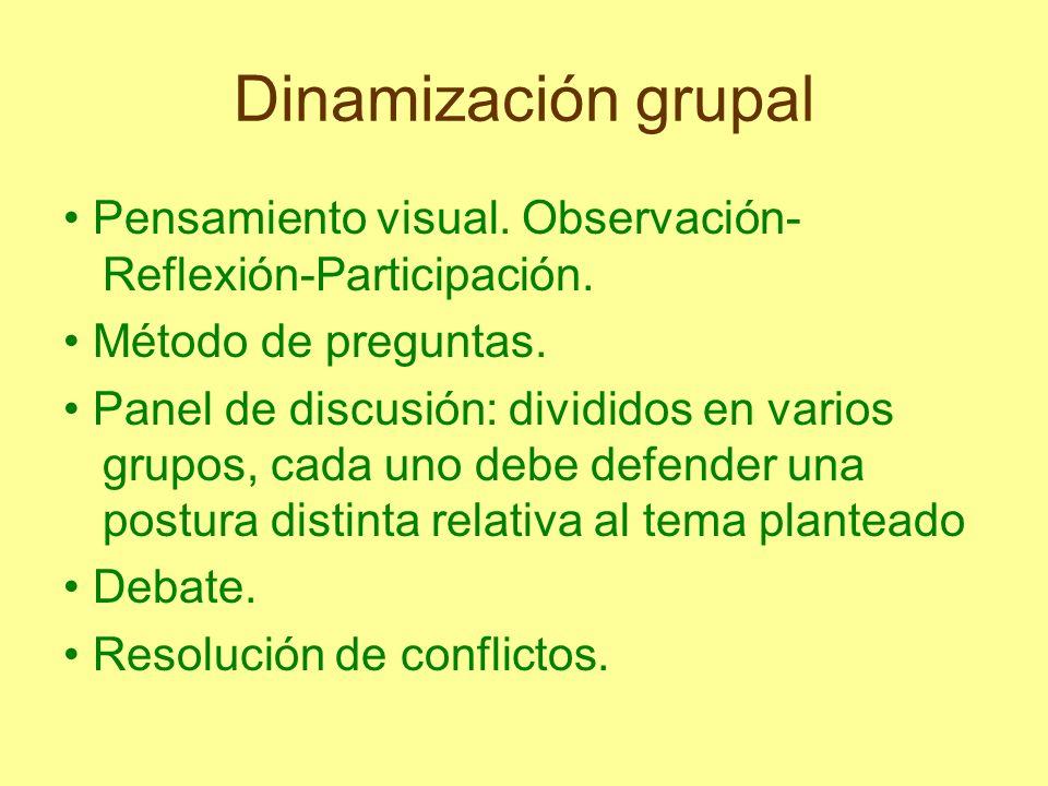 Dinamización grupal • Pensamiento visual. Observación-Reflexión-Participación. • Método de preguntas.