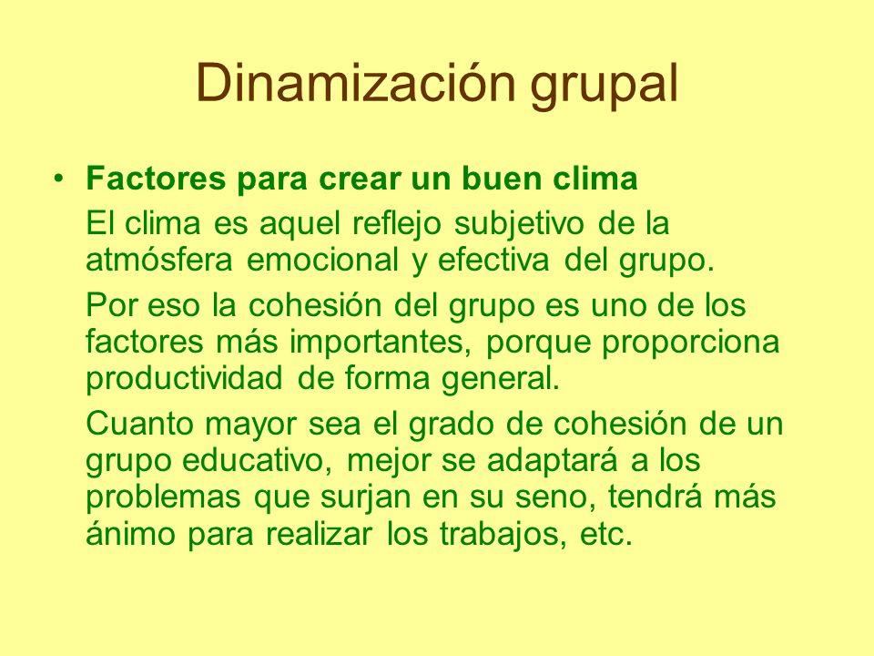 Dinamización grupal Factores para crear un buen clima