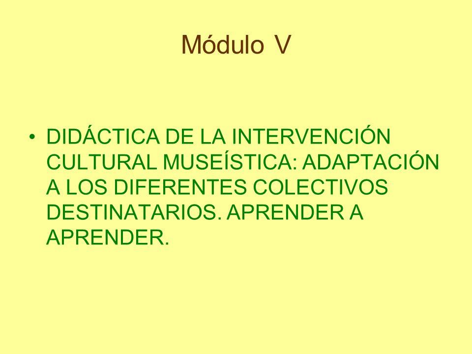 Módulo V DIDÁCTICA DE LA INTERVENCIÓN CULTURAL MUSEÍSTICA: ADAPTACIÓN A LOS DIFERENTES COLECTIVOS DESTINATARIOS.