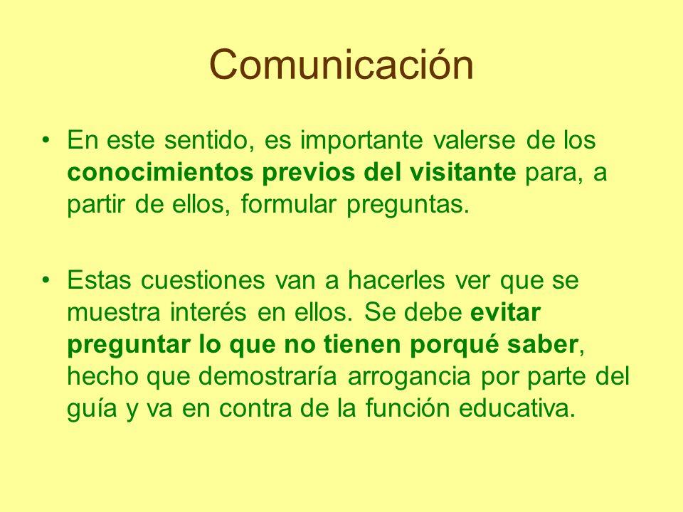 Comunicación En este sentido, es importante valerse de los conocimientos previos del visitante para, a partir de ellos, formular preguntas.