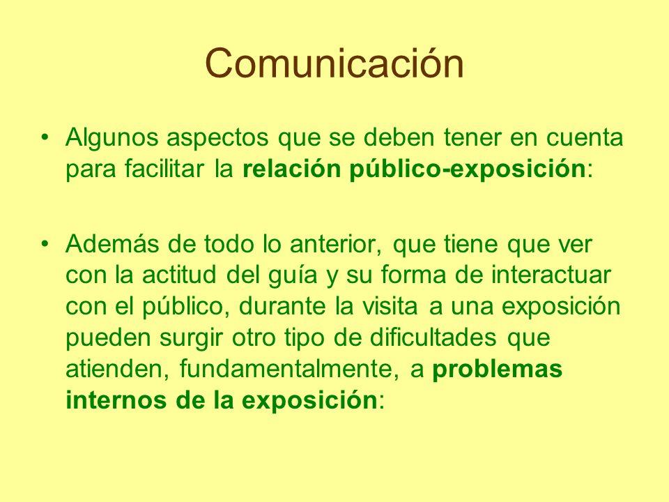 Comunicación Algunos aspectos que se deben tener en cuenta para facilitar la relación público-exposición: