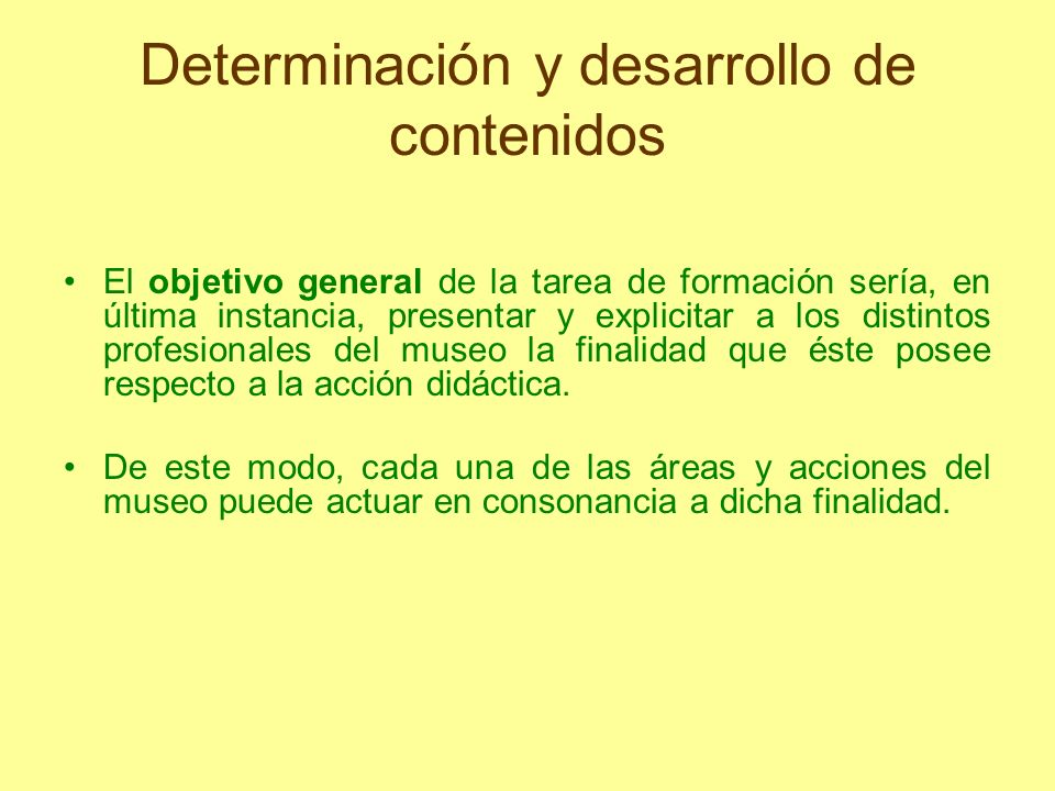 Determinación y desarrollo de contenidos