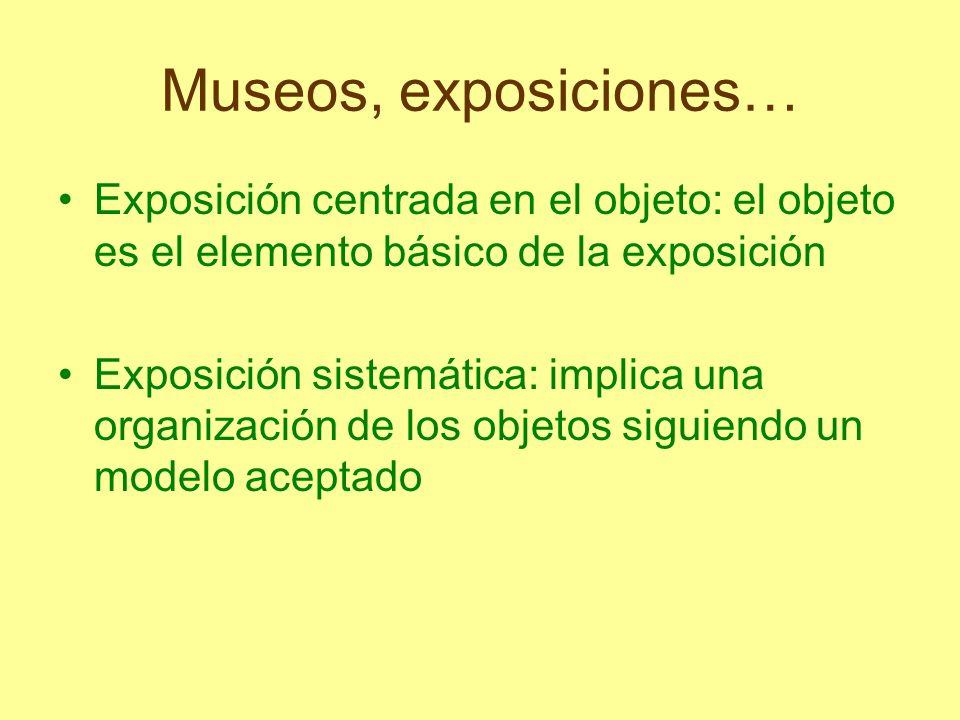 Museos, exposiciones… Exposición centrada en el objeto: el objeto es el elemento básico de la exposición.