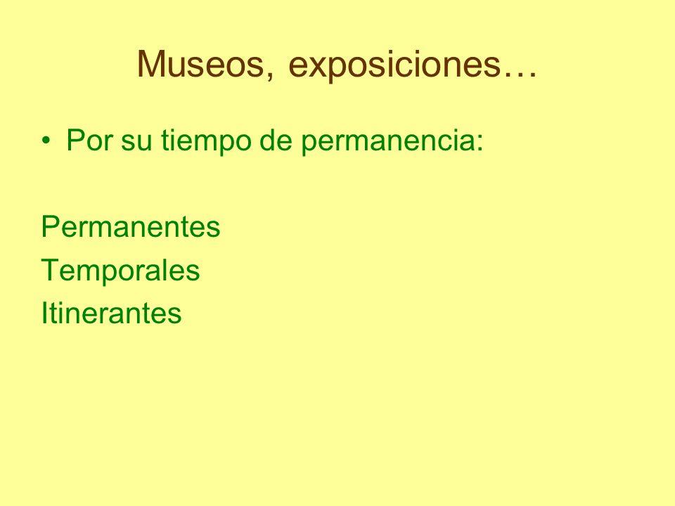 Museos, exposiciones… Por su tiempo de permanencia: Permanentes