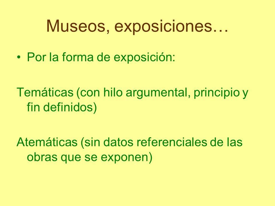 Museos, exposiciones… Por la forma de exposición: