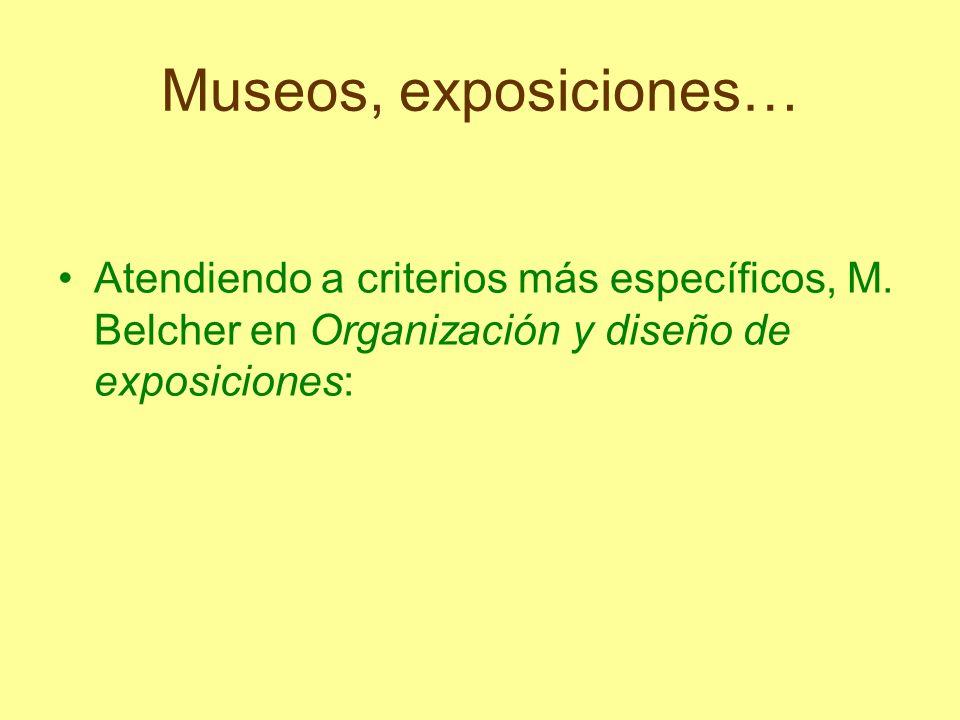 Museos, exposiciones… Atendiendo a criterios más específicos, M.