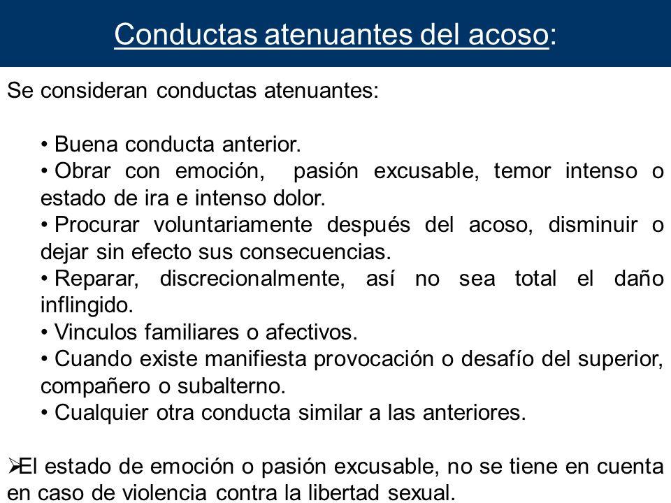 Conductas atenuantes del acoso: