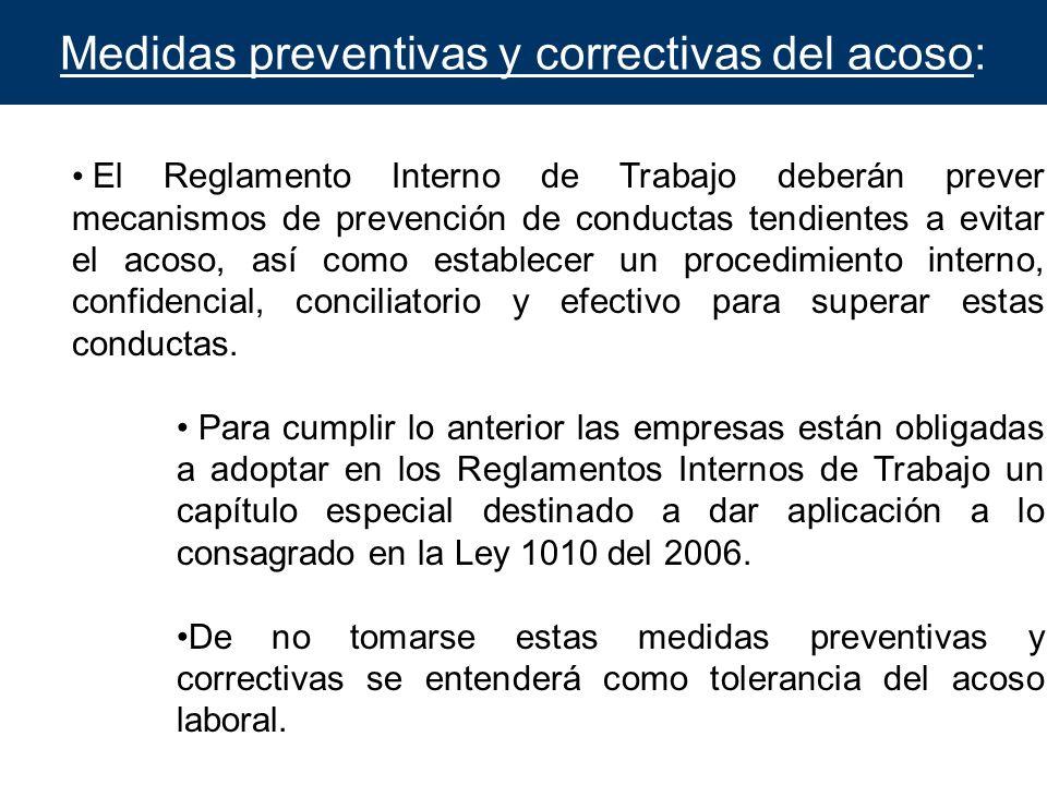 Medidas preventivas y correctivas del acoso: