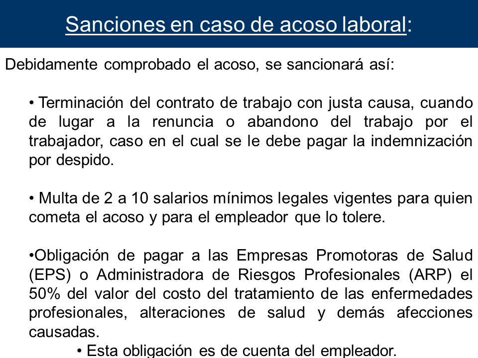 Sanciones en caso de acoso laboral: