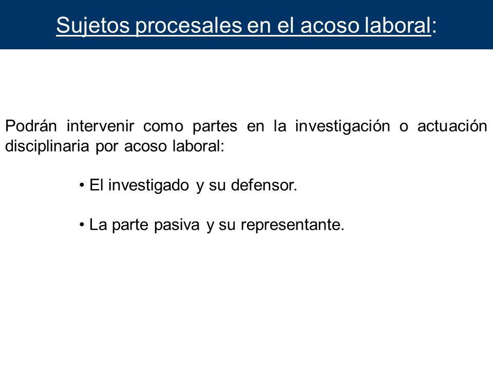 Sujetos procesales en el acoso laboral:
