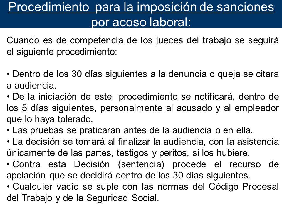 Procedimiento para la imposición de sanciones por acoso laboral: