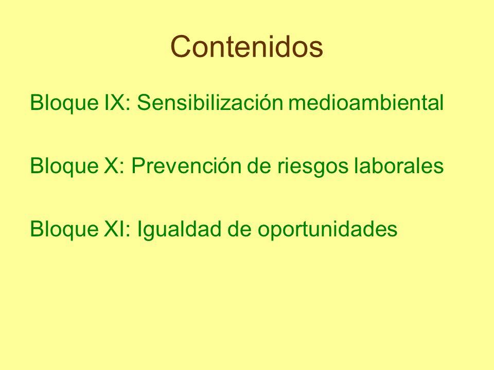 Contenidos Bloque IX: Sensibilización medioambiental