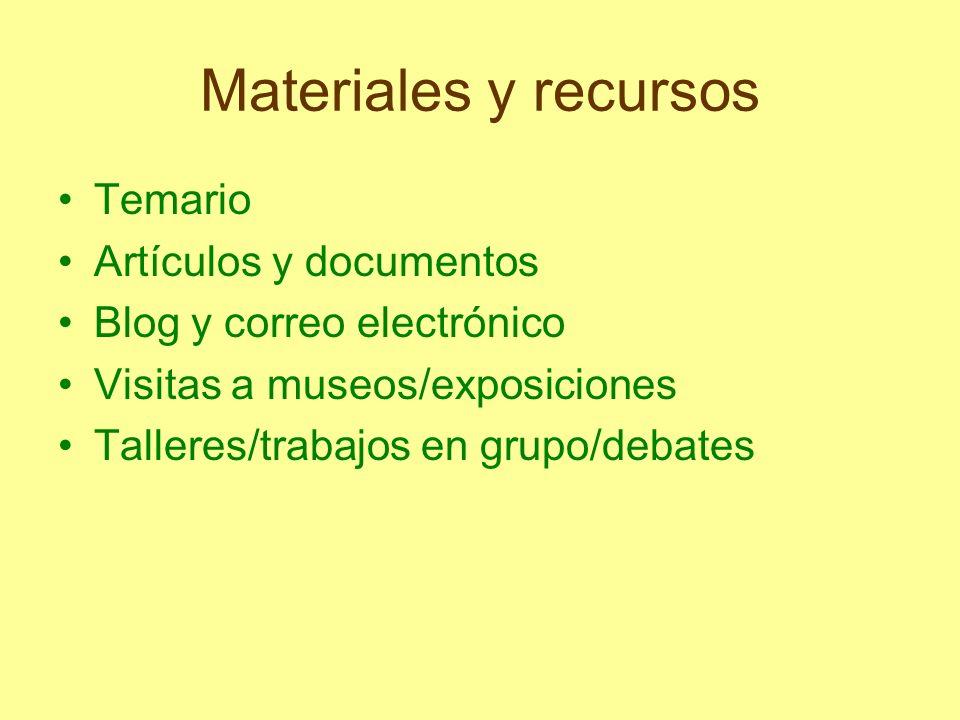 Materiales y recursos Temario Artículos y documentos