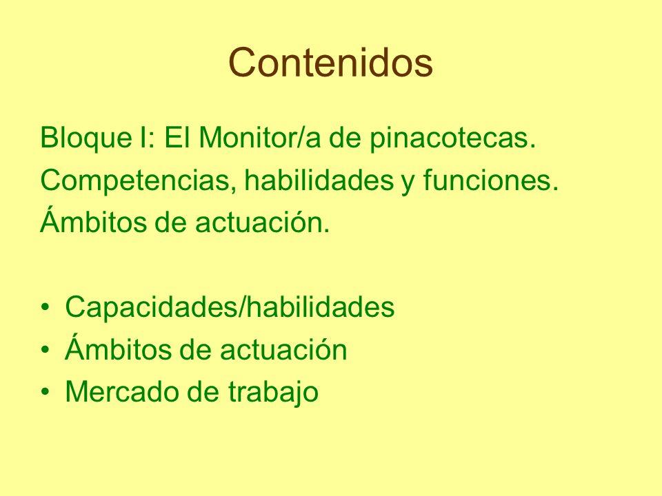 Contenidos Bloque I: El Monitor/a de pinacotecas.