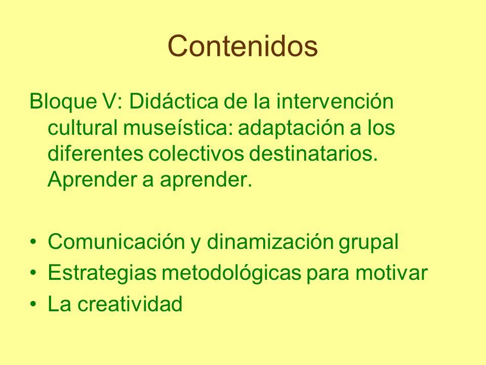ContenidosBloque V: Didáctica de la intervención cultural museística: adaptación a los diferentes colectivos destinatarios. Aprender a aprender.