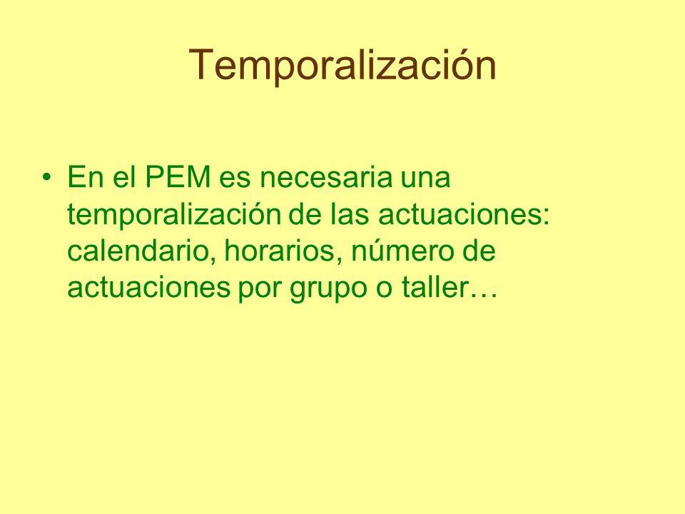 TemporalizaciónEn el PEM es necesaria una temporalización de las actuaciones: calendario, horarios, número de actuaciones por grupo o taller…
