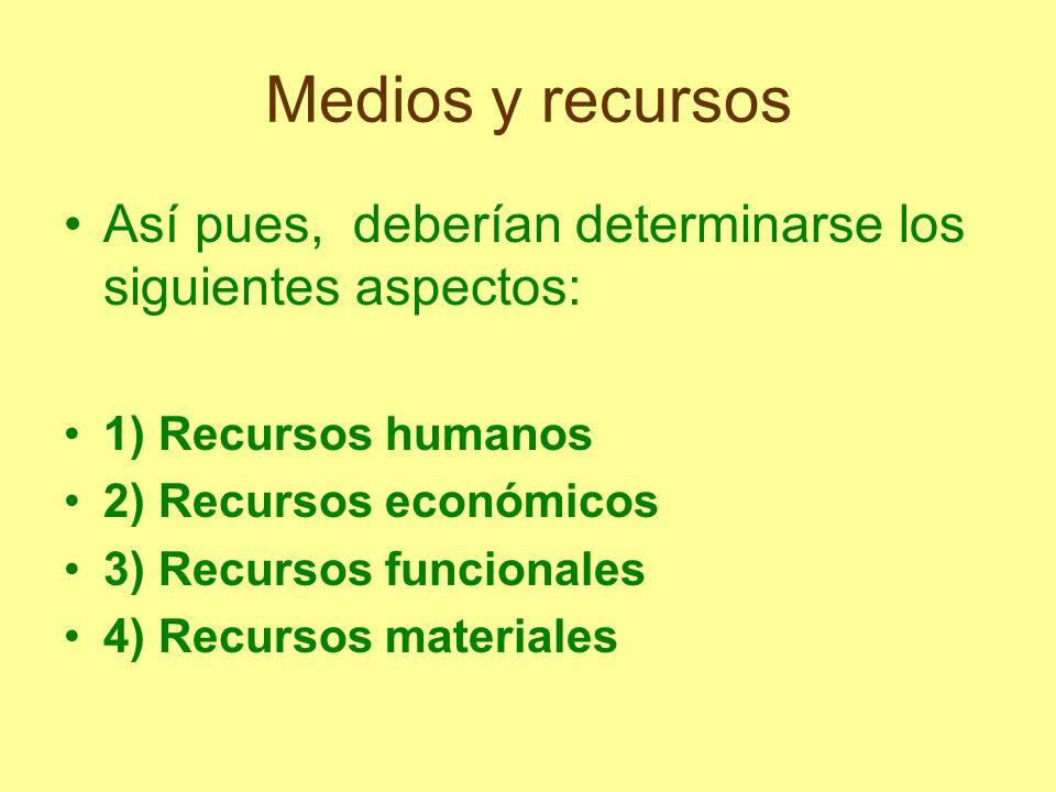 Medios y recursosAsí pues, deberían determinarse los siguientes aspectos: 1) Recursos humanos. 2) Recursos económicos.