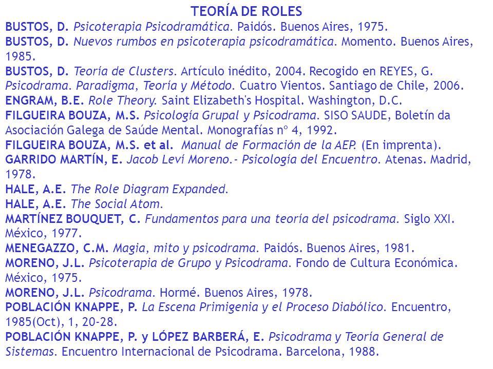 TEORÍA DE ROLES BUSTOS, D. Psicoterapia Psicodramática. Paidós. Buenos Aires, 1975.