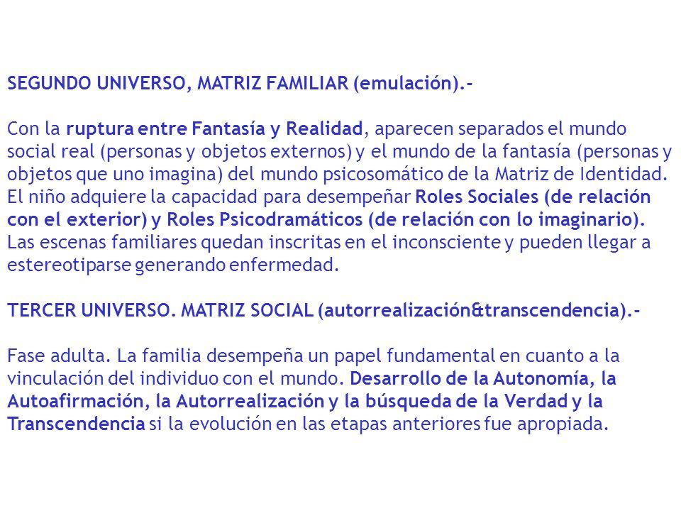 SEGUNDO UNIVERSO, MATRIZ FAMILIAR (emulación).-