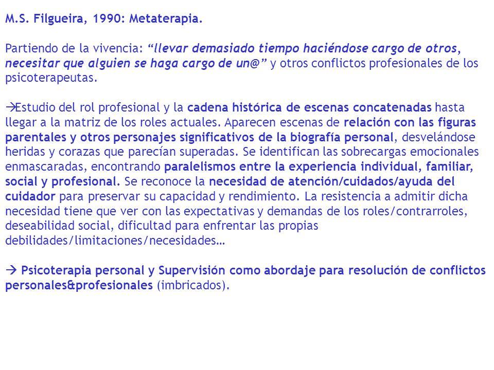 M.S. Filgueira, 1990: Metaterapia.