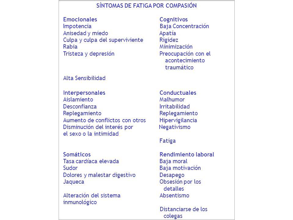 SÍNTOMAS DE FATIGA POR COMPASIÓN