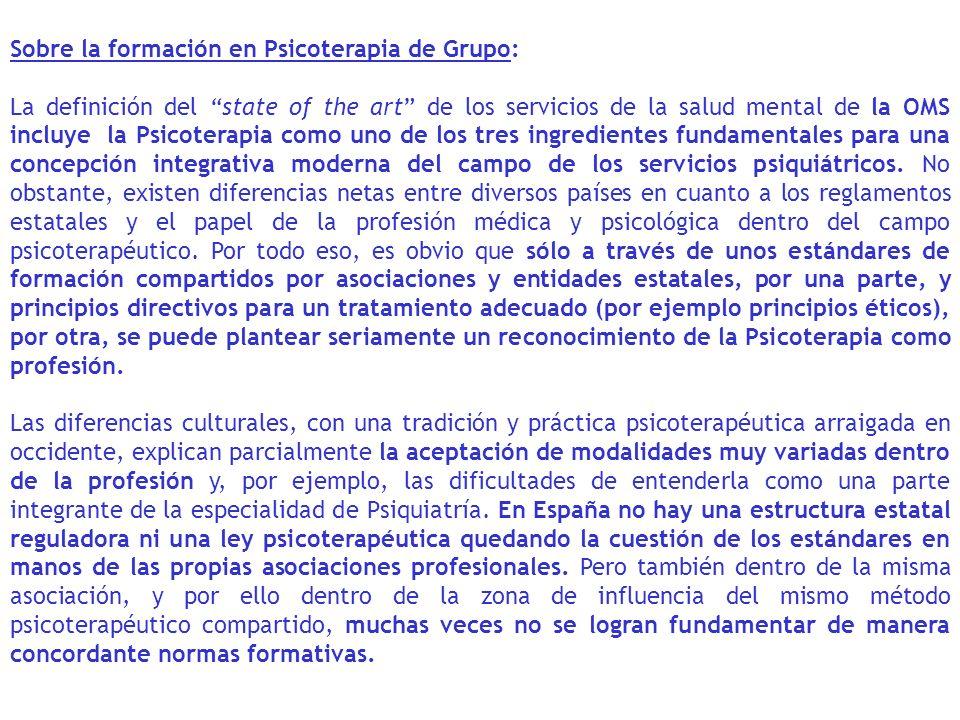 Sobre la formación en Psicoterapia de Grupo: