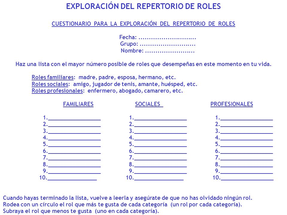 EXPLORACIÓN DEL REPERTORIO DE ROLES