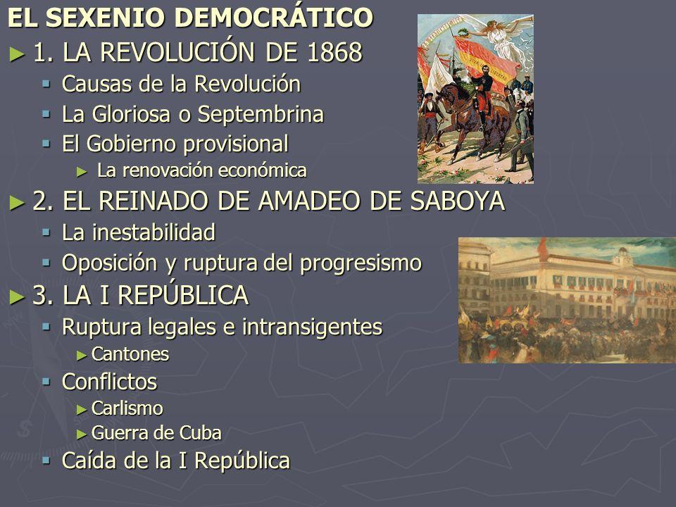EL SEXENIO DEMOCRÁTICO 1. LA REVOLUCIÓN DE 1868