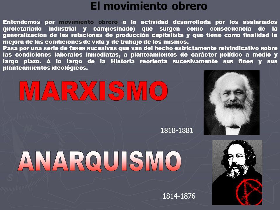 MARXISMO ANARQUISMO El movimiento obrero 1818-1881 1814-1876