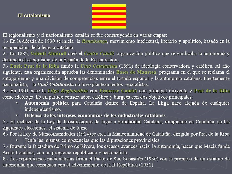 El catalanismo El regionalismo y el nacionalismo catalán se fue construyendo en varias etapas: