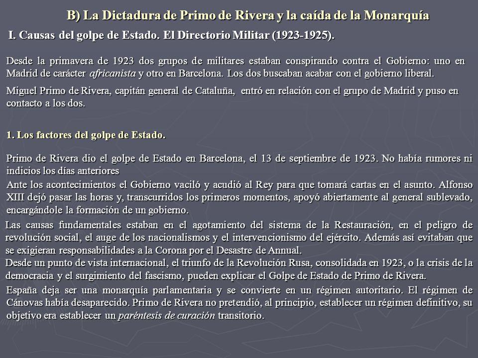 B) La Dictadura de Primo de Rivera y la caída de la Monarquía