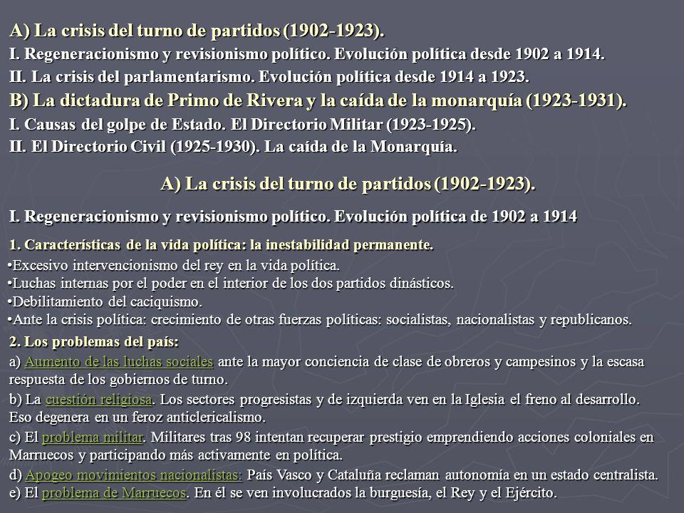 A) La crisis del turno de partidos (1902-1923).