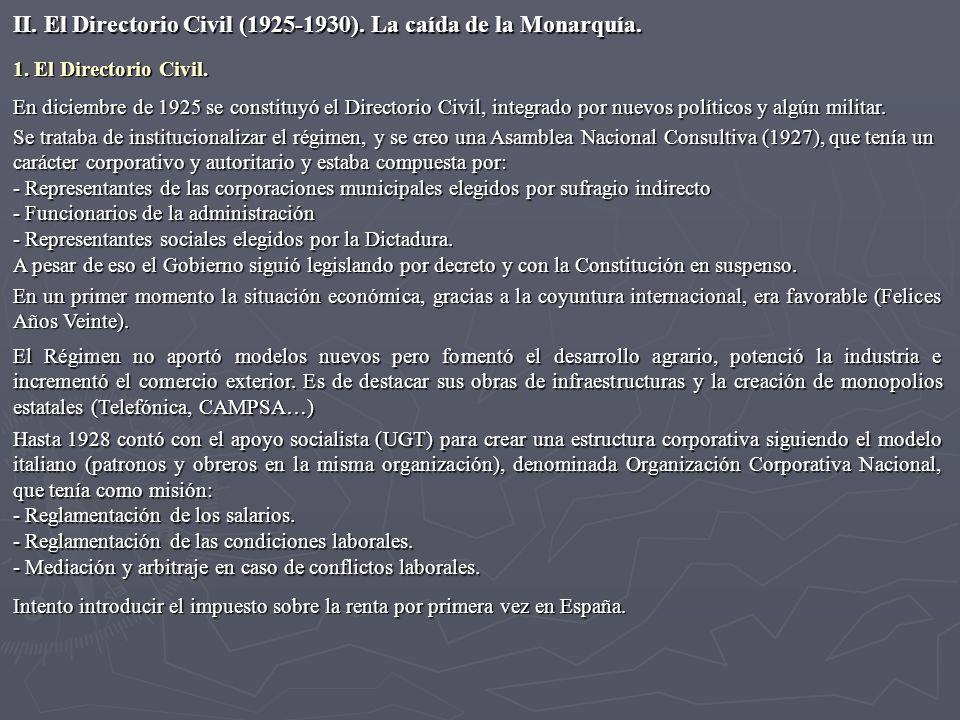 II. El Directorio Civil (1925-1930). La caída de la Monarquía.
