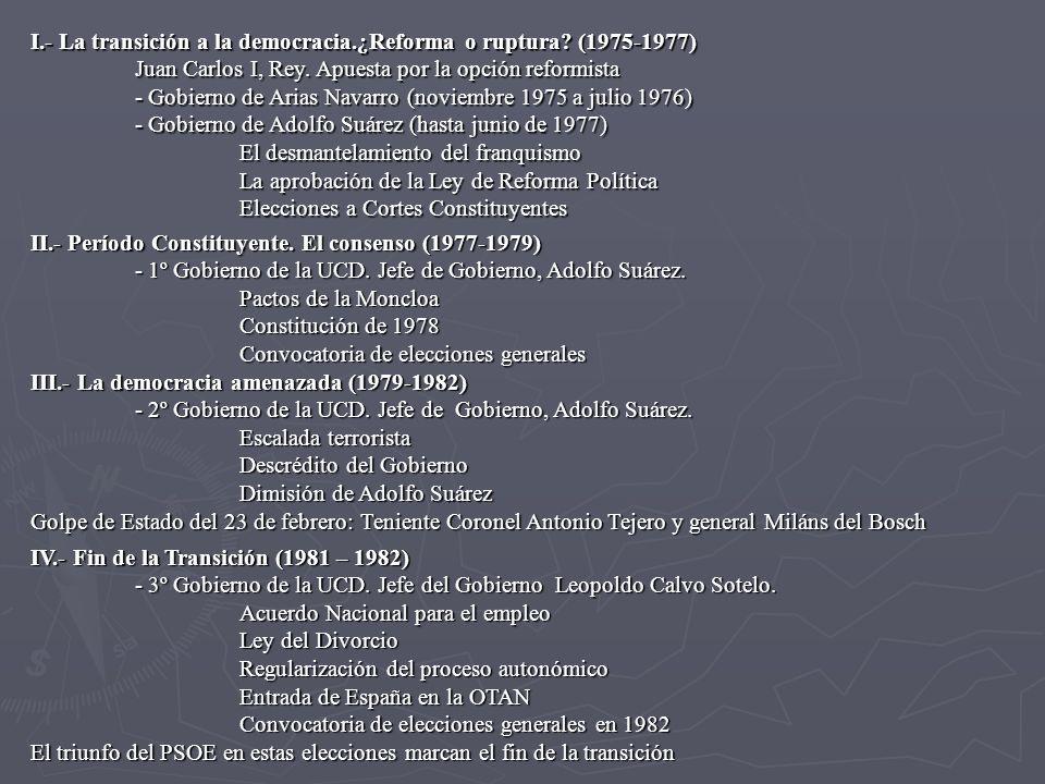 I.- La transición a la democracia.¿Reforma o ruptura (1975-1977)