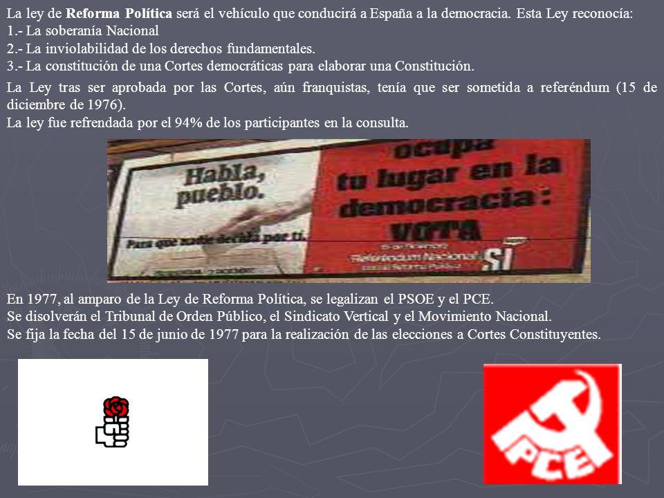 La ley de Reforma Política será el vehículo que conducirá a España a la democracia. Esta Ley reconocía: