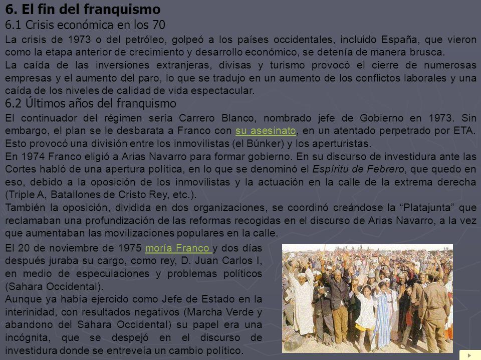 6. El fin del franquismo 6.1 Crisis económica en los 70