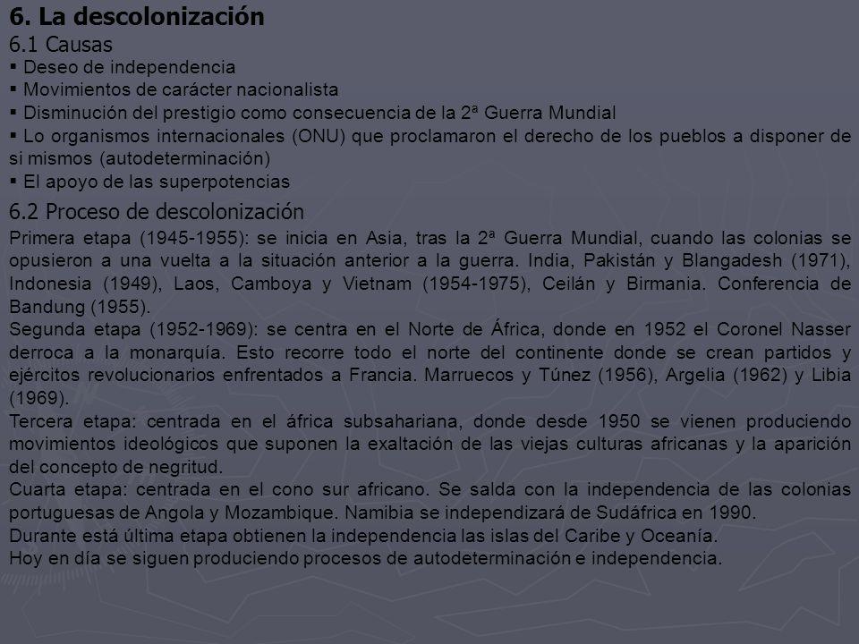 6. La descolonización 6.1 Causas 6.2 Proceso de descolonización