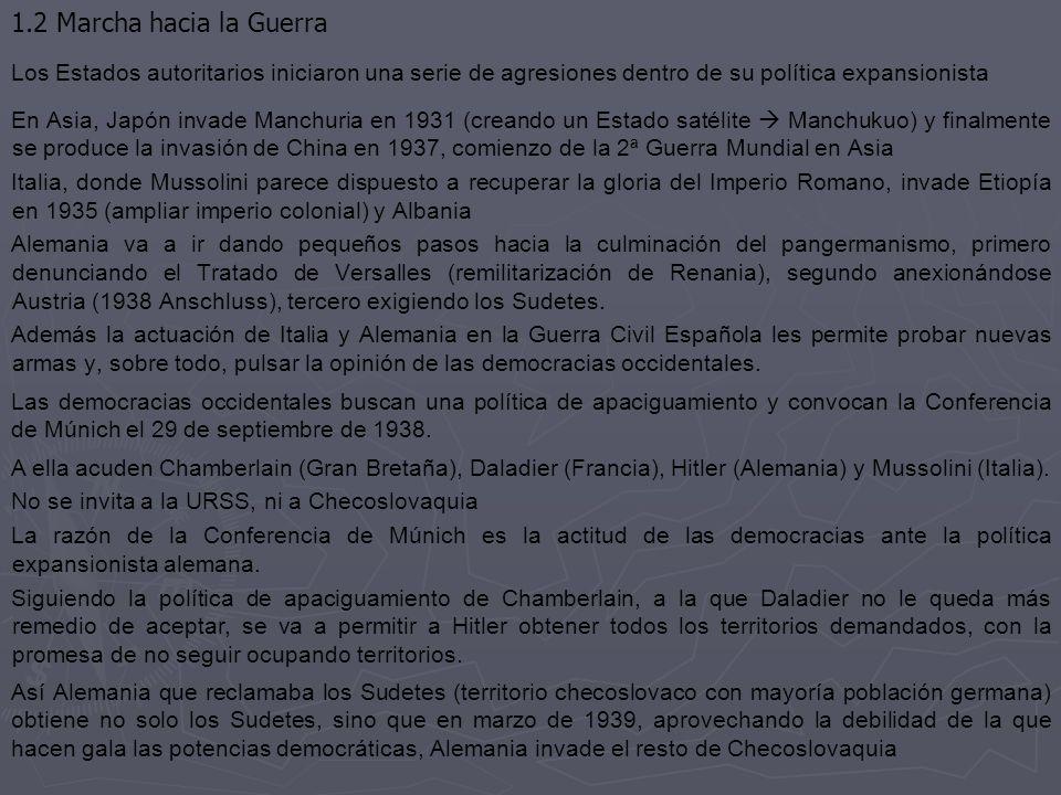 1.2 Marcha hacia la Guerra Los Estados autoritarios iniciaron una serie de agresiones dentro de su política expansionista.