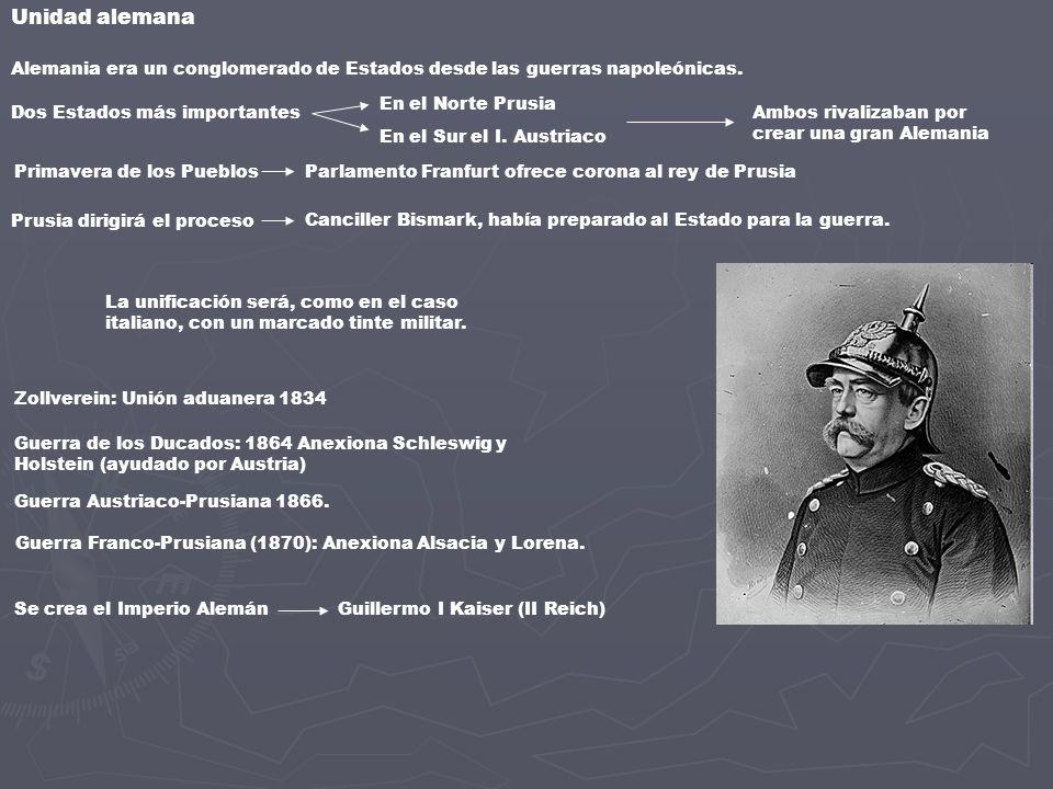 Unidad alemanaAlemania era un conglomerado de Estados desde las guerras napoleónicas. En el Norte Prusia.